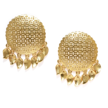 Designer Trendy Fashion Gold Plated Golden Oversized Studs with Jali Work