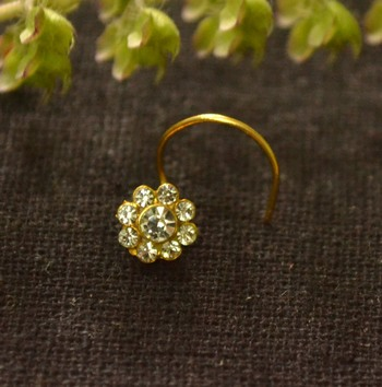 Designer 9 Diamond Stone Floral Nose Pin Nose Ring