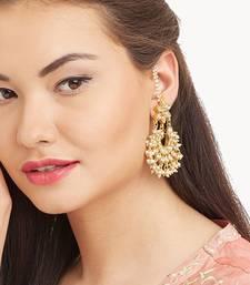 Designer Kudan Stone Floral Pearl Stone Chandbali Chandelier Earrings