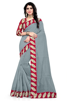 Grey printed chanderi saree with blouse