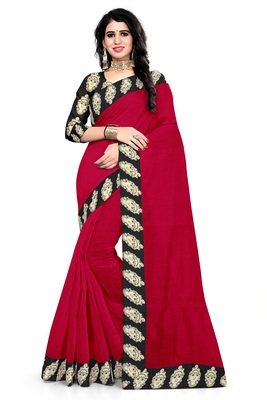 Red printed chanderi saree with blouse