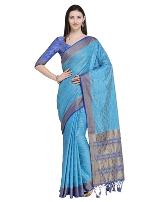 86e984b9f0 Blue woven silk blend saree with blouse - Saree Swarg - 2804013