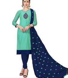 Turquoise embroidered silk blend salwar