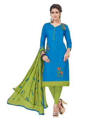 Sky-blue embroidered cotton salwar