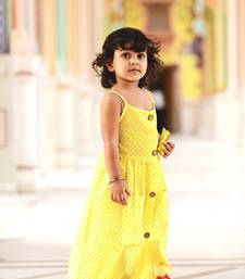 Yellow printed cotton kids girl gowns