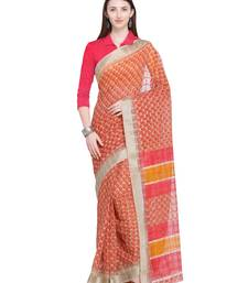 Red printed super net saree with blouse
