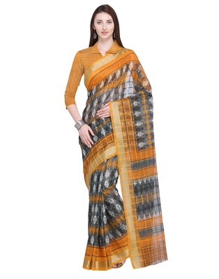 Grey printed super net saree with blouse