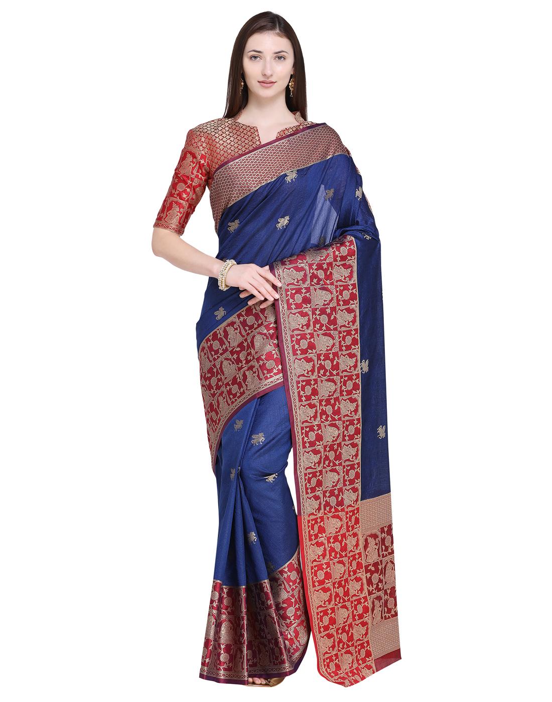 d7700569c3 Navy blue woven silk blend saree with blouse - Saree Swarg - 2804342
