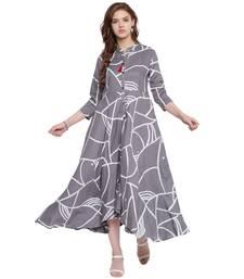 Grey printed rayon kurti