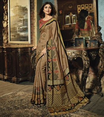 Brown Printed  Silk Brasso saree with blouse