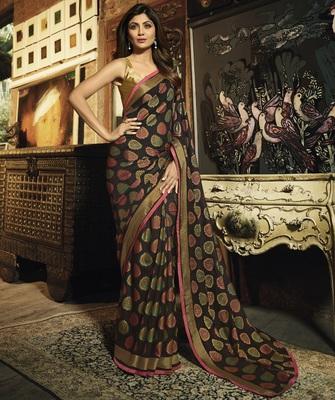 Multicolor Printed  Silk Brasso saree with blouse