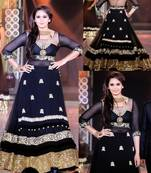 Buy black color jari work georgette fabric semi stiched top bollywood style with bottom