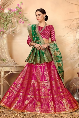 Royal pink embroidery banarasi silk jequard lehenga with dupatta