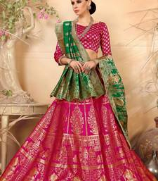 Royal pink embroidery banarasi silk jequard lehenga with dupatta