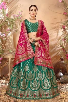 Green embroidery banarasi silk jequard lehenga with dupatta