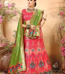 Pink embroidery banarasi silk jequard lehenga with dupatta