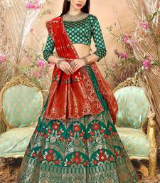 Green embroidery banarasi silk jequard lehenga with dupatta