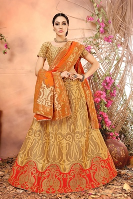 Yellow embroidery banarasi silk jequard lehenga with dupatta