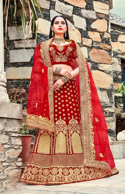 Red embroidery micro velvet lehenga with dupatta