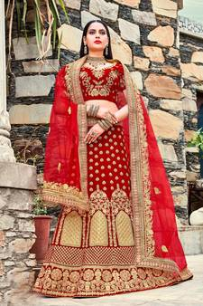 3bc64a75e3 Red embroidery micro velvet lehenga with dupatta. Shop Now