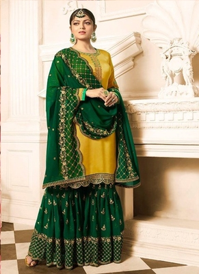 Yellow embroidered satin salwar
