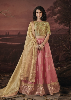 Pink embroidery art silk lehenga with dupatta