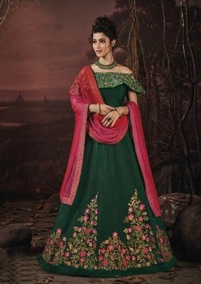 Green embroidery art silk lehenga with dupatta