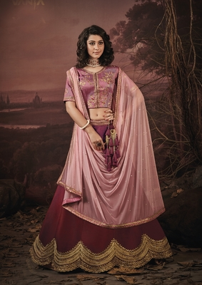 Rosewood embroidery art silk lehenga with dupatta