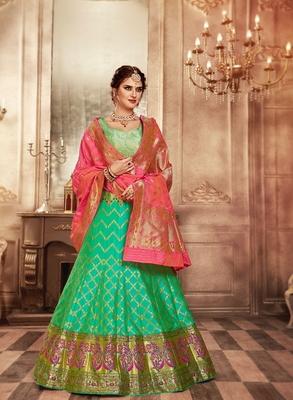 Pink and green embroidery pure banarasi silk lehenga with dupatta