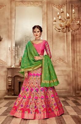 Pink embroidery pure banarasi silk lehenga with dupatta