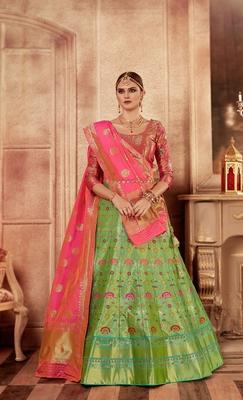 Mehendi green embroidery pure banarasi silk lehenga with dupatta