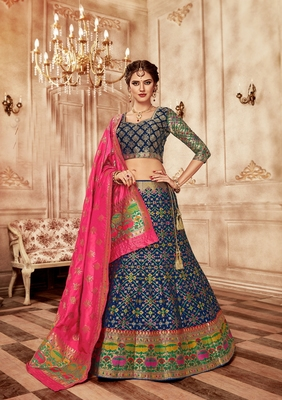 Dark blue embroidery pure banarasi silk lehenga with dupatta
