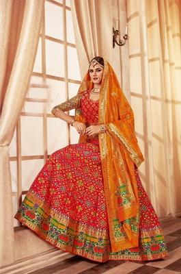 Orange and red embroidery pure banarasi silk lehenga with dupatta