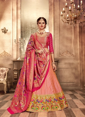 Pink and peach embroidery pure banarasi silk lehenga with dupatta
