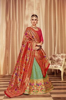 Green embroidery pure banarasi silk lehenga with dupatta