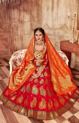 8028b6df9a Red embroidery pure banarasi silk lehenga with dupatta - The Six Yards -  2805043