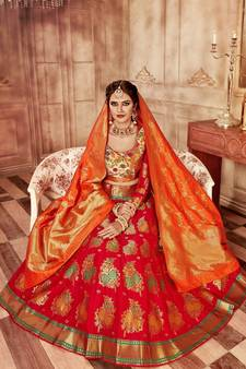 b34487079 Red embroidery pure banarasi silk lehenga with dupatta. Shop Now