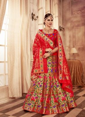 Red and gold embroidery pure banarasi silk lehenga with dupatta