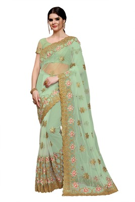 Light sky blue embroidered net saree with blouse