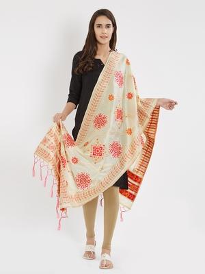 Cream woven Banarasi Silk Dupatta for Women