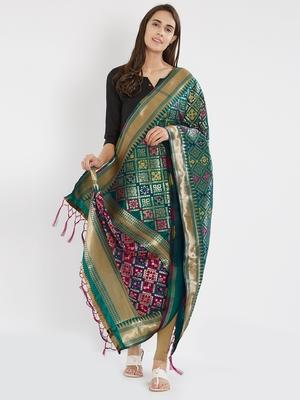 Green woven Banarasi Silk Dupatta for Women