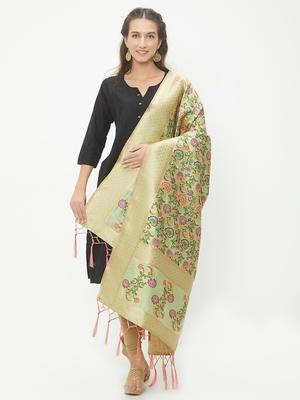 Light Green woven Banarasi Silk Dupatta for Women
