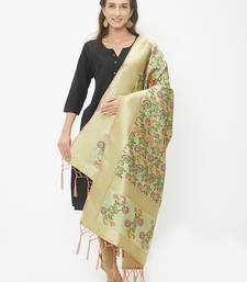 Light Green woven Banarasi Silk Dupatta for Women