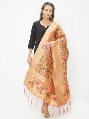 Orange woven Banarasi Silk Dupatta for Women