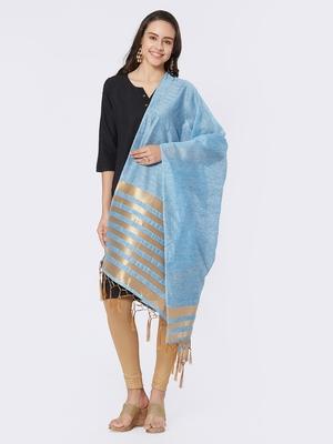Blue Cotton Woven Dupatta for women