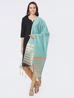 Green Cotton Woven Dupatta for women