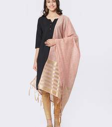 Peach Cotton Woven Dupatta for women