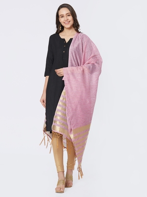 Pink Cotton Woven Dupatta for women