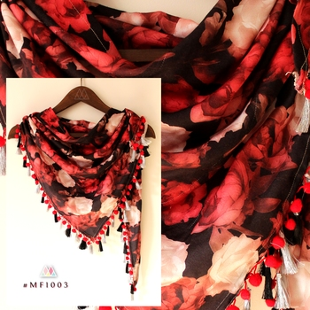 Sexy Red Floral Printed Triangle Scarf