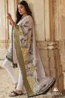Chex Panel Rose Embroidered Festive Dupatta